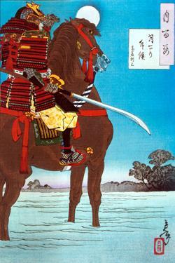 На гравюре изображен военачальник армии Акети Мицухидэ Сайте Тосимитцу в ночь перед предательским убийством Ода Нобунага, 1582год